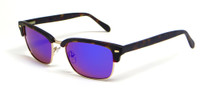 Calabria Viv Sunglass Collection 791S in Matte-Tortoise & Polarized Violet Mirror