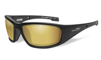 Wiley-X™ High Performance Eyewear Boss Sunglasses in Black with Polarized Gold Mirror Lens (CCBOS04)