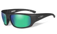 Wiley-X™ High Performance Eyewear Omega Sunglasses in Matte-Black with Polarized Emerald Mirror Lens (ACOME07)
