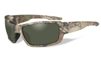 Wiley-X™ High Performance Eyewear Rebel Sunglasses in Real-Tree Camo Frame with Polarized Green Lens (ACREB07)