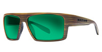 Native Eyewear Polarized Sunglasses: Eldo in Wood & Black with Green Reflex Lens