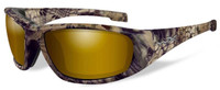 Wiley-X™ Designer Sunglasses WX Boss in KRYPTEK HIGHLANDER™ Frame & Polarized Venice Gold Mirror (Amber) Lens