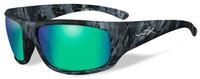 Wiley-X™ Designer Sunglasses WX Omega in KRYPTEK NEPTUNE™ Frame & Polarized Emerald Mirror (Amber) Lens