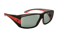 Haven Designer Fitover Sunglasses Breckenridge in Black/Red & Polarized Grey Lens (MEDIUM/LARGE)