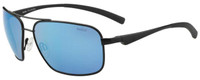 Bollé Polarized Sunglasses: Brisbane in Matte Black with Blue Mirror