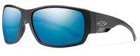 Smith Optics Dockside Designer Sunglasses in Matte Black with Polarized Blue Mirror Lens