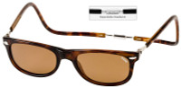 Clic Magnetic Sunglasses Ashbury-Wide in Tortoise w/ Amber Lens