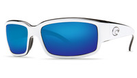 Costa Del Mar™ Polarized 580G Sunglasses: Caballito in White-Black & Blue Mirror Lens