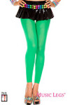 Music Legs 70 Denier Opaque Footless Tights Kelly Green One Size