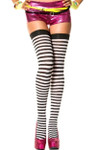 Music Legs Opaque Striped Thigh High Black-White One Size