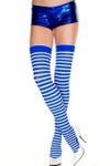 Music Legs Opaque Striped Thigh High Blue-White One Size