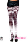 Music Legs 70 Denier Opaque Striped Tights Black-White One Size