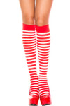 Music Legs Opaque Stripe Knee High Red-White One Size