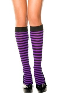 444c9cb65 Music Legs Opaque Stripe Knee High Black-Purple One Size - The ...