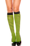 Music Legs Opaque Stripe Knee High Black-Neon Green One Size