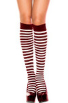 Music Legs Opaque Stripe Knee High Black-White One Size