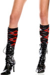 Music Legs Skull Argyle Knee High One Size