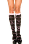 Music Legs Polka Dots Bow And Hearts  Knee High One Size