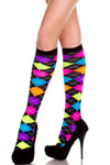 Music Legs Neon Argyle Knee High One Size