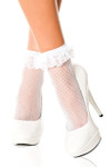 Music Legs Lace Ruffle Fishnet Anklet White One Size