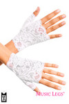 Music Legs Lace Fingerless Gloves White One Size