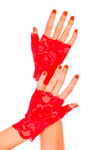 Music legs Lace Fingerless Gloves Red One Size