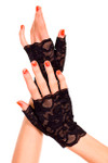 Music Legs Lace Fingerless Gloves Black One Size