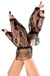 Music Legs Wrist Length Lace Fingerless Gloves Black One Size