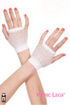 Music Legs Thick Diamond Net Gloves White One Size