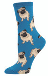 Sock Smith Ladies Socks Pugs Blue