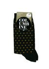 Columbine Merino Wool Crew Sock Dots Black/Gold