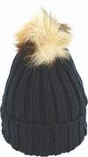 Avenel Acrylic Knit Beanie With Faux Fur Pom Black