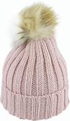 Avenel Acrylic Knit Beanie With Faux Fur Pom Blush