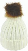 Avenel Acrylic Knit Beanie With Faux Fur Pom Winter White