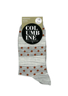 Columbine Merino Wool Crew Sock Dots and Stripes Rust