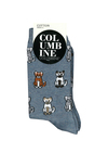 Columbine Cotton Crew Sock Chill Cats Blue