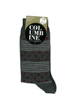 Columbine Merino Wool Crew Sock Dots and Stripes Maroon