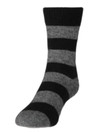 Comfort Socks Possum and Merino Striped Crew Black/Riverstone