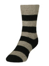 Comfort Socks Possum and Merino Striped Crew Natural/Black