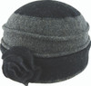 Avenel Boiled Wool Flower Pull On Hat Black/Grey