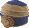 Avenel Boiled Wool Flower Pull On Hat Navy/Fawn