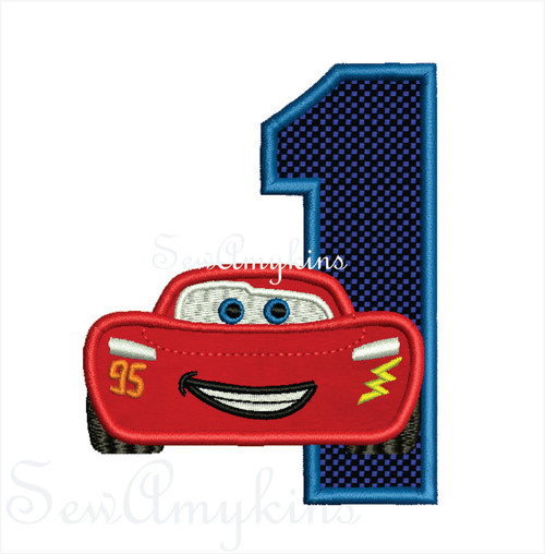 Lightning McQueen Race Cars Applique Machine Embroidery