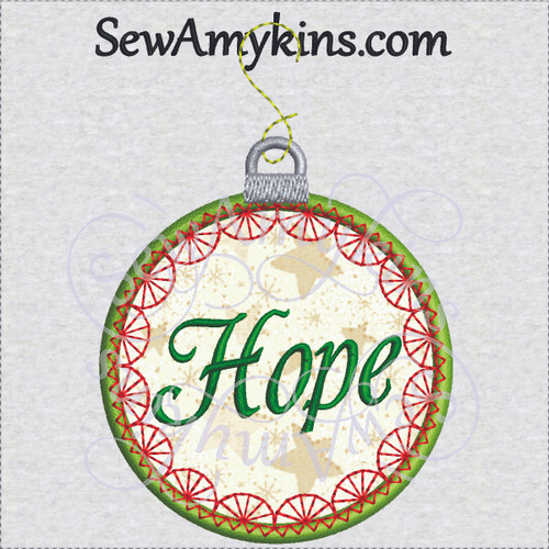 Christmas Applique Ornament Warm Wishes Embroidery Design