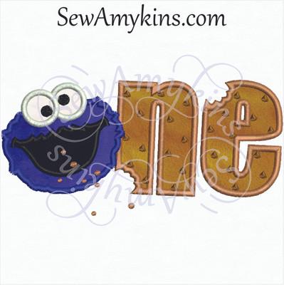 Cookie Monster One Birthday Applique Sewamykins