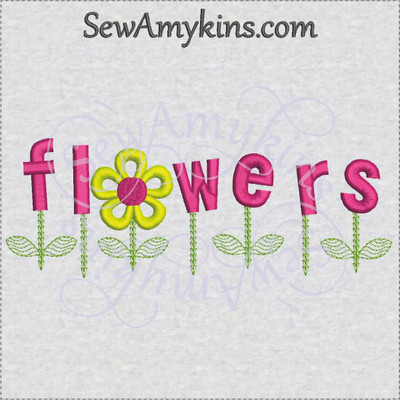 Flower Daisy Word Machine Embroidery Design Stem Leaves 3