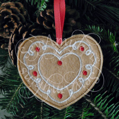 Gingerbread Heart cookie ornament Christmas felt machine ...