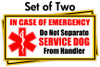 Service Dog In Case of Emergency Stickers