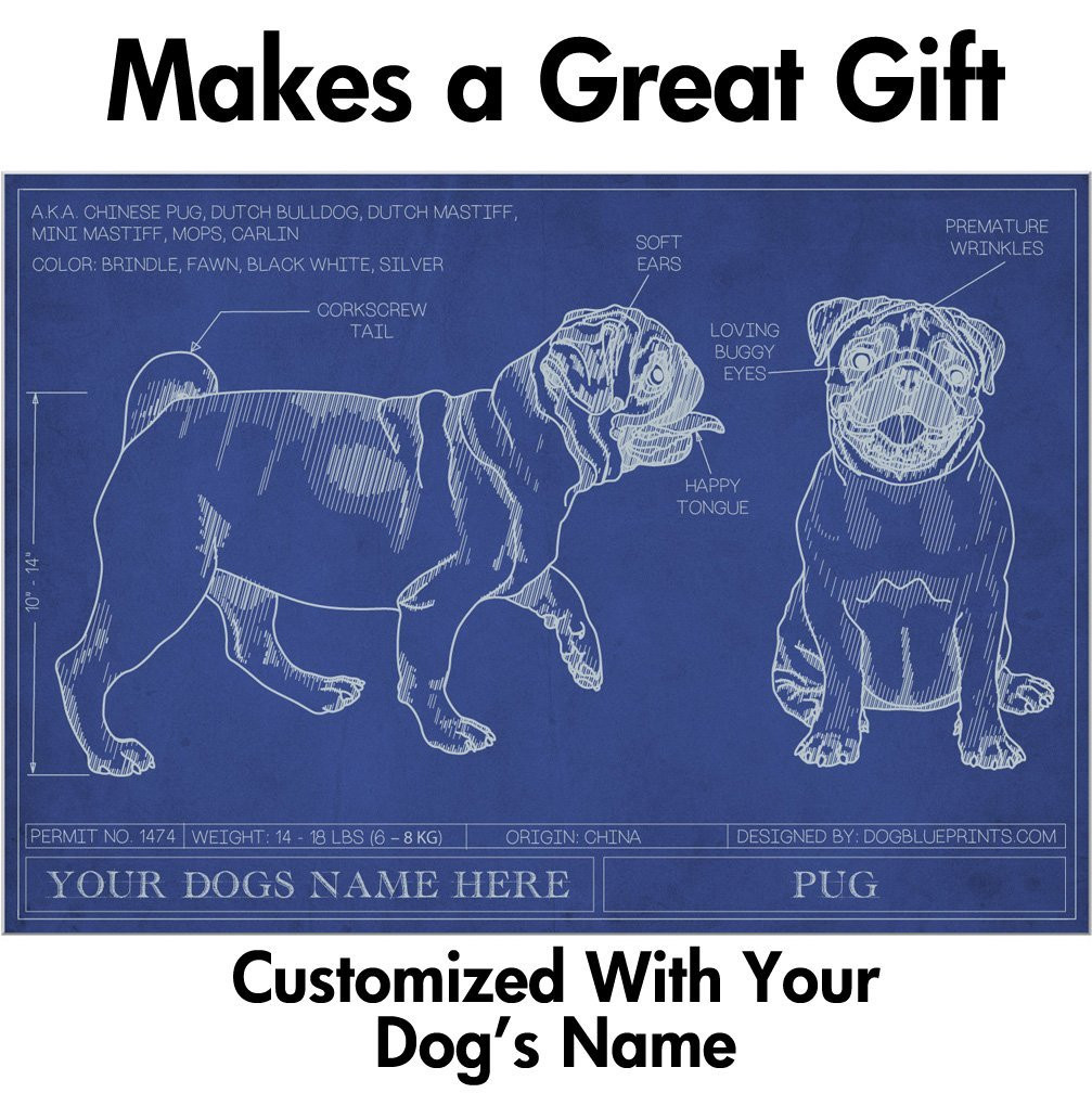 Image of: Vest Loading Zoom Time Magazine Pug Blueprint With Personalized Dog Name Makes Great Gift