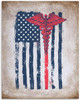 Medical Symbol Plus American Flag Grunge - 11x14 Unframed Art Print - Great Hospital Decor