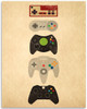 Game Console Controllers Old School to Now - 11x14 Unframed Art Print - Great Man Cave Game Room Decor/Gift to Gamers